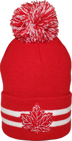 Mighty Maple Striped Cuffed Pom Toque Red White