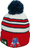 New England Patriots Vintage Traditional Stripe Pom Toque