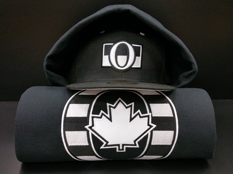 O Canada Black and White 17oz Cotton Hoodie