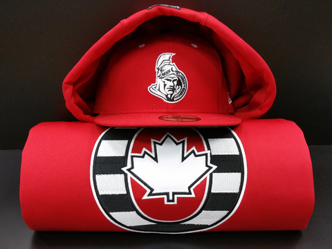 O Canada Red Black and White 17oz Cotton Hoodie
