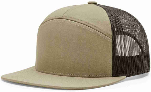 Richardson 7 Panel High Crown Trucker Cap Pale Khaki Brown