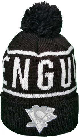 Pittsburgh Penguins Mitchell & Ness Black and White Reflective Logo NHL Toque