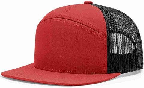 Richardson 7 Panel High Crown Trucker Cap Red Black