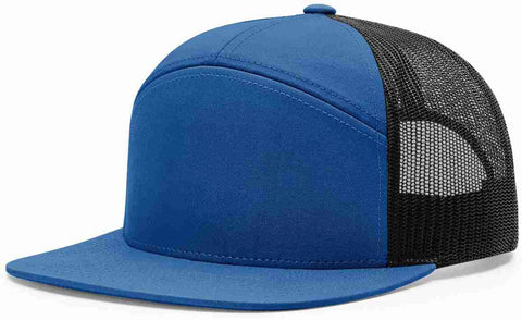 Richardson 7 Panel High Crown Trucker Cap Royal Black