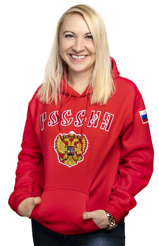 Russia Embroidered Logo Hoodie Chivalry Red