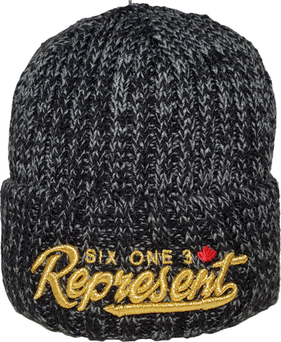 SO3 Represent Chunky Waffle Knit Cuffed Beanie Toque Black Metallic Gold