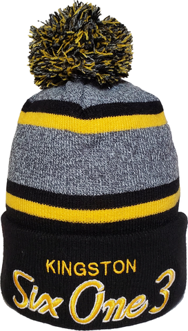 Six One 3 Script Kingston Pom Toque Black Gold
