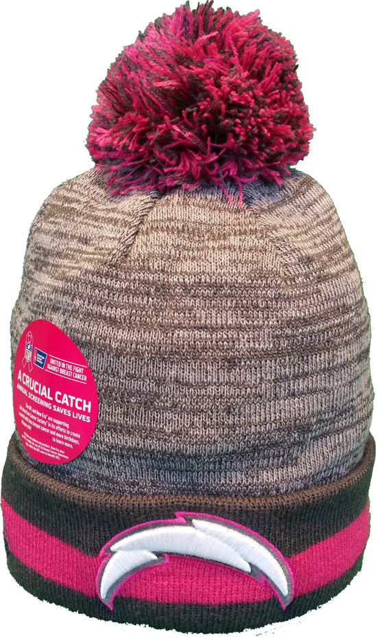 298b558dad3 San Diego Chargers Breast Cancer Awareness Sideline Fleece Pom Toque – More  Than Just Caps Clubhouse