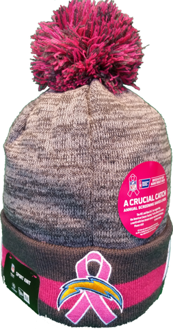 777326336b7 ... San Diego Chargers Breast Cancer Awareness Sideline Fleece Pom Toque ...
