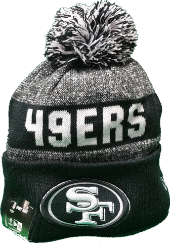 San Francisco 49ers Black 2016-2017 Sideline Knit Pom Toque
