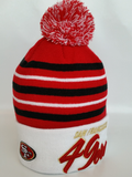 San Francisco 49ers Script Stripe Pom Toque