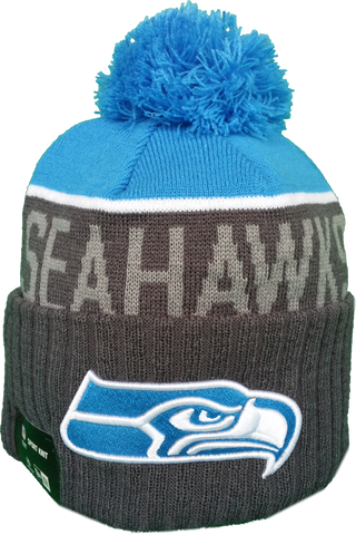 Seattle Seahawks Fleece Lined Blue Pom Toque