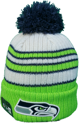 Seattle Seahawks Traditional Stripe Pom Toque