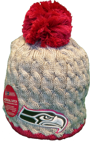 Seattle Seahawks Breast Cancer Awareness Womens Fleece Pom Toque