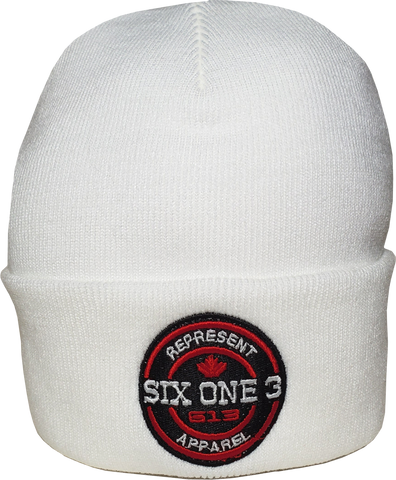 Six One 3 Benchmark Rib Knit Beanie Toque White
