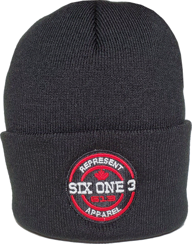 Six One 3 Benchmark Rib Knit Beanie Toque Black