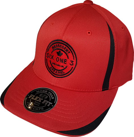 Six One 3 Benchmark Tech Flex Fit Cap Red Black