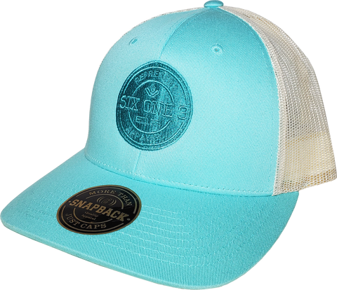 Six One 3 Benchmark Trucker Cap Aruba Blue Birch