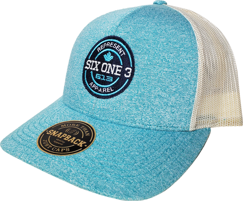 Six One 3 Benchmark Trucker Hat Green Teal Heather Birch