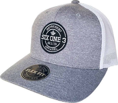 Six One 3 Benchmark Trucker Cap Heather Grey White