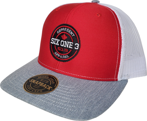 Six One 3 Benchmark Trucker Cap Red Heather Grey White