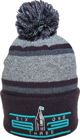 Six One 3 Cyber Acrylic Cuff Pom Ottawa Toque Grey Navy Teal