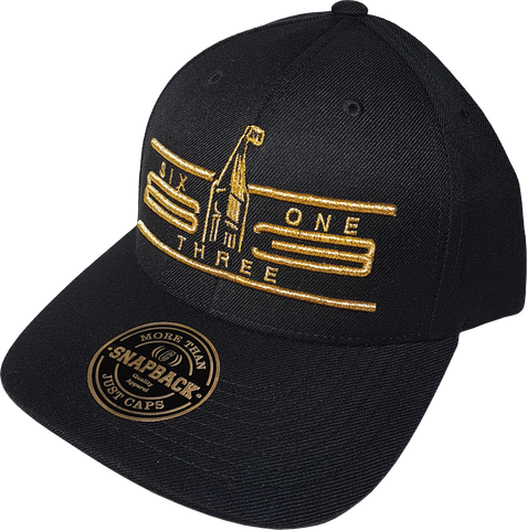 Six One 3 Cyber Black & Metallic Gold Adjustable Snap