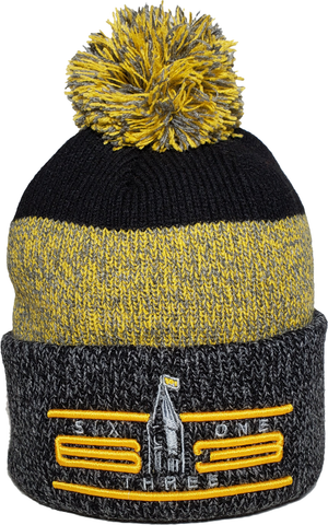Six One 3 Cyber Marl Rib Knit Cuff Pom Ottawa Toque Black Gold