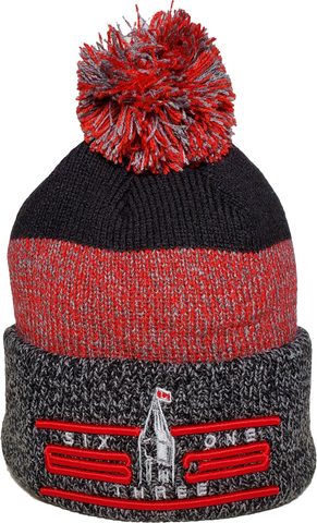 Six One 3 Cyber Marl Rib Knit Cuff Pom Ottawa Toque Black Red