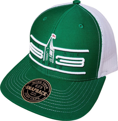 Six One 3 Cyber Mesh Back Trucker Cap Green White