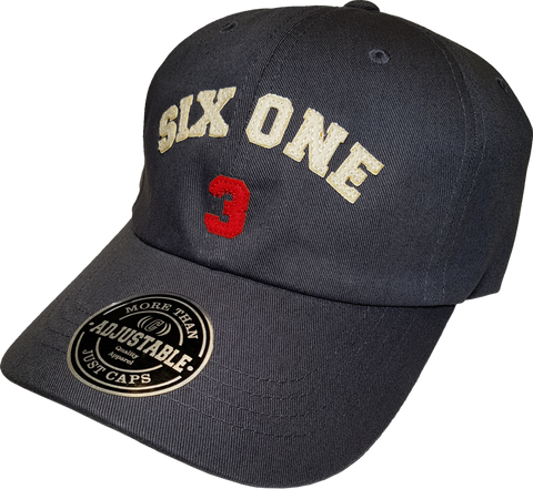 Six One 3 Strap Back Adjustable Dad Cap Graphite