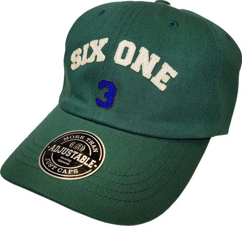 Six One 3 Strap Back Adjustable Dad Cap Green