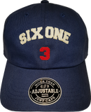 Six One 3 Strap Back Adjustable Dad Cap Navy