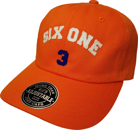 Six One 3 Strap Back Adjustable Dad Cap Orange