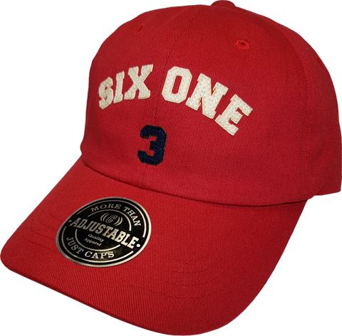 Six One 3 Strap Back Adjustable Dad Cap Red