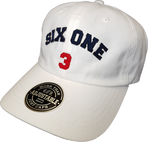 Six One 3 Strap Back Adjustable Dad Cap White
