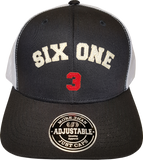 Six One 3 Ottawa Felt Trucker Mesh Back Cap Black White