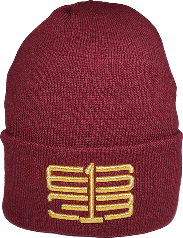 Six One 3 Interlok Basic Cuffed Beanie Toque Maroon Metallic Gold