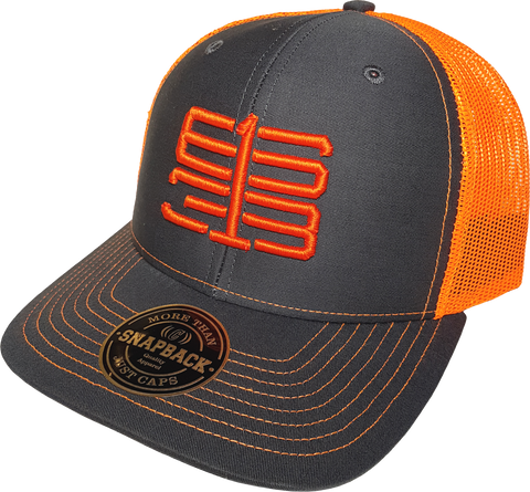 Six One 3 Interlok Mesh Back Trucker Cap Charcoal Shock Orange