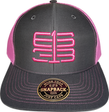 Six One 3 Interlok Mesh Back Trucker Cap Charcoal Shock Pink