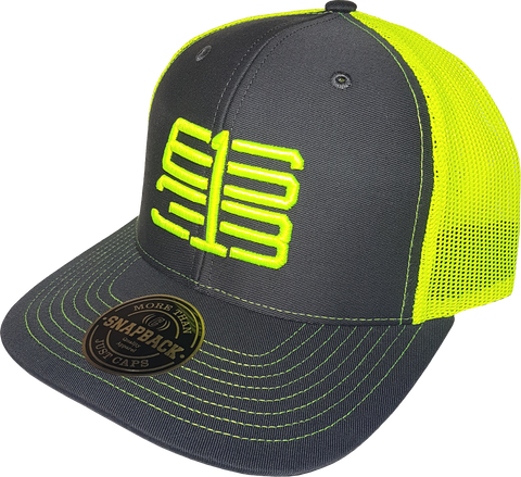 Six One 3 Interlok Mesh Back Trucker Cap Charcoal Shock Yellow