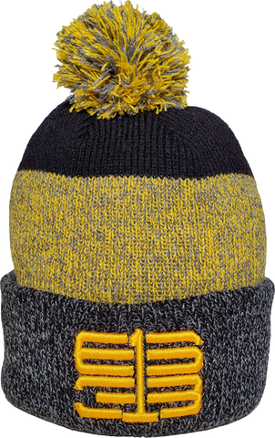 Six One 3 Interlok Marl Rib Knit Pom Toque Black Gold