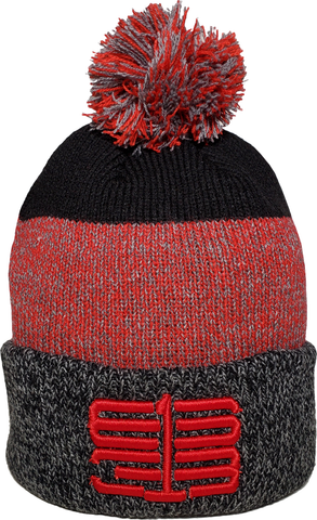 Six One 3 Interlok Marl Rib Knit Pom Toque Black Red