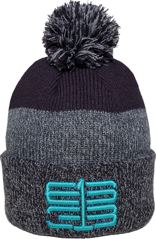 Six One 3 Interlok Marl Rib Knit Pom Toque Navy Teal