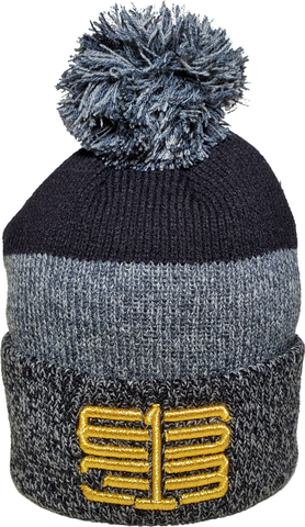 Six One 3 Interlok Marl Rib Knit Cuffed Toque Charcoal Black Metallic Gold