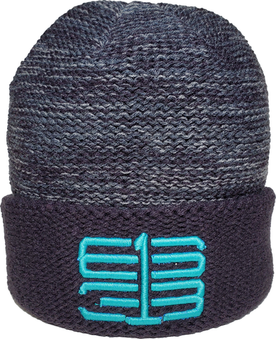 Six One 3 Interlok Melange Cuffed Beanie Toque Navy Charcoal Teal