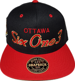 Six One 3 SS Script Snapback Black-Red