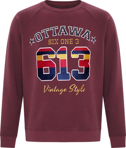 Six One 3 Vintage Style Ottawa Crew Neck Cardinal Heather