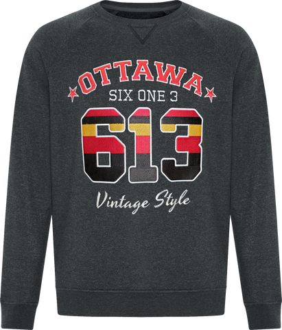 Six One 3 Vintage Style Ottawa Crew Neck Black Heather