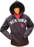 Six One 3 Zip Hoodie Black